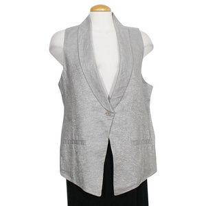 Gray Twinkle Linen Woven Shawl Collar Vest M